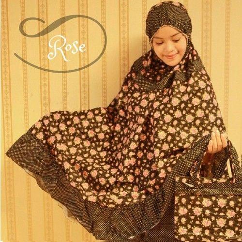 Mukena Cantik Black Rose, Mukena Katun Jepang - Muslim Online Shop | Yukbisnis