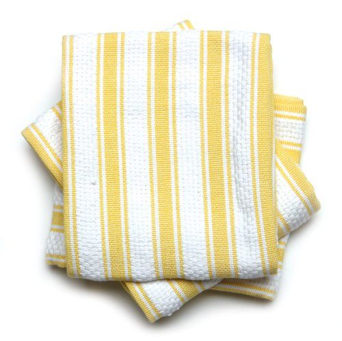 Etonnant Mahogany Basket Weave Kitchen Towels With Color Stripes , Set Of 3, Yellow