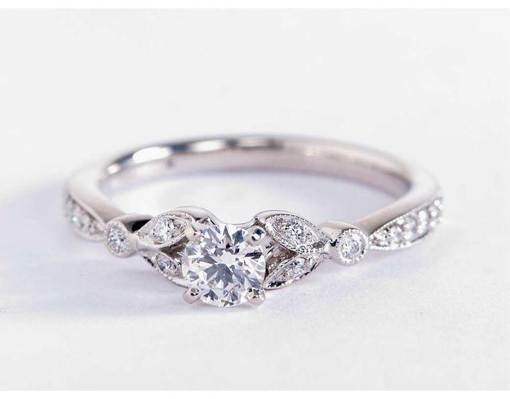 Petite Vintage Pave Leaf Diamant Verlobungsring Aus 14 Karat