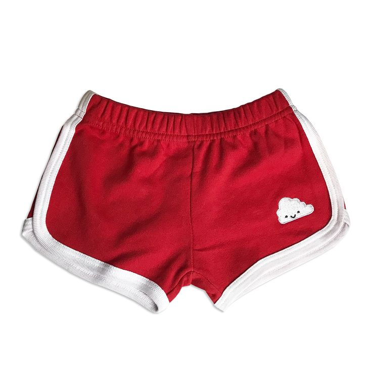 Red Kawaii Cloud Running Shorts - 2 Left Sizes 1-2 & 7-8 years