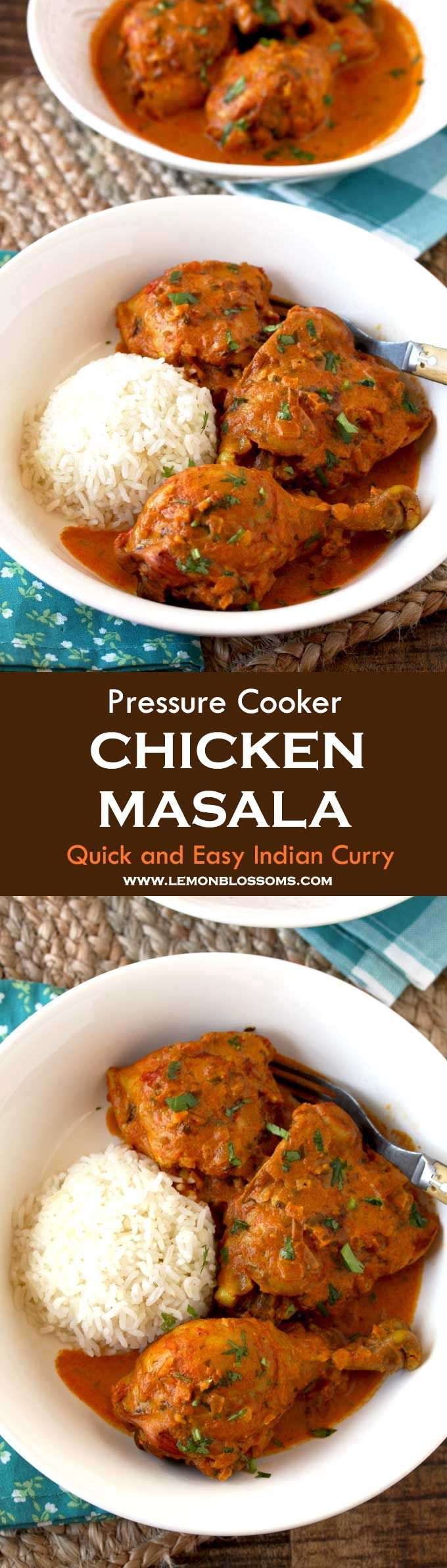 This Indian inspired Chicken Masala has the right balance of spices and creaminess and only takes 30 minutes to make! Chicken pieces are cooked in a flavorful tomato based sauce with spices you already have in your kitchen. This easy full flavored homemade curry recipe is one everyone will love! #Instantpot #chicken #Masala #Curry #IndianFood via @lmnblossoms