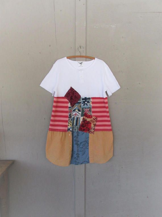 upcycled dress recycled shirt patchwork by lillienoradrygoods