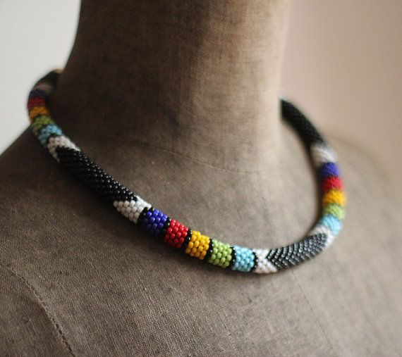 Black Zulu Style Necklace African Necklace by HeriniaJewelry