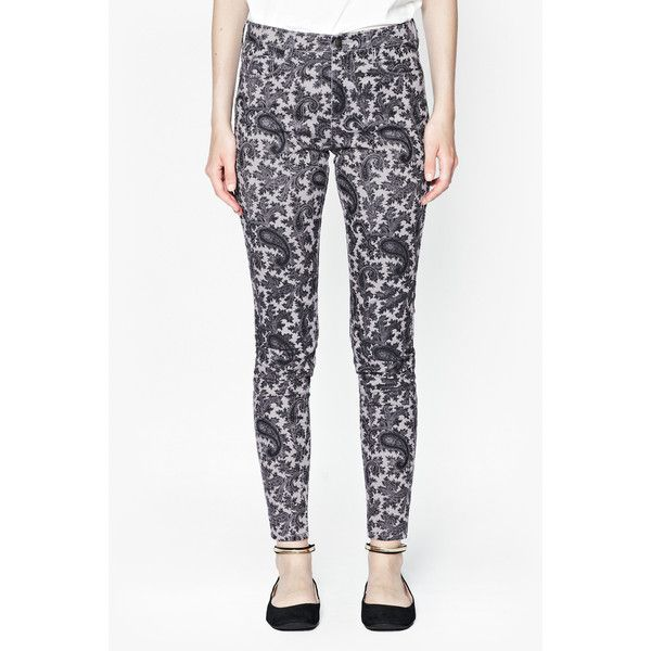 French Connection Paisley Party Printed Jeans ($40) ❤ liked on Polyvore featuring jeans, zipper skinny jeans, super skinny jeans, zipper jeans, paisley jeans and skinny fit jeans