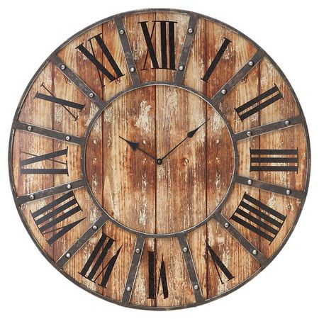 Weathered Wood Wall Clock With A Roman Numeral Dial And Metal Frame.  Product: Wall Clock Construction Material: Metal And Wood Color: Weathered  Natural ...