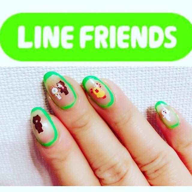 LINE FRIENDS NAIL📱 久しぶりのネイル更新! 惜しみながらジェルを取って、またeaglinail再開です☆ 前に#nailmall で購入した#linefriends  のネイルシールを使ってみました♡ ちょうど#line 的#グリーンネイル もあった😃 #eaglinail #ラインネイル #ブラウン#コニー#サリー #nail#nails#nailart#selfnail#naildesign#nailpolish#instanails#manicure#네일 #네일디자인 #셀프네일#指甲油#美甲#指彩#ポリッシュ#ネイル #ネイルデザイン #ネイルアート#セルフネイル#セルフネイル部#マニキュア