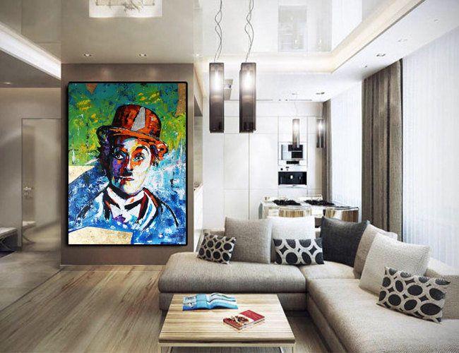 Charlie Chaplin ORIGINAL Painting on Canvas, Large Abstract Painting, Fine Art, Wall Art, Pop Art, Modern Artwork, Blue Danube by Kathleen de la boutique KathleenProFineArt sur Etsy