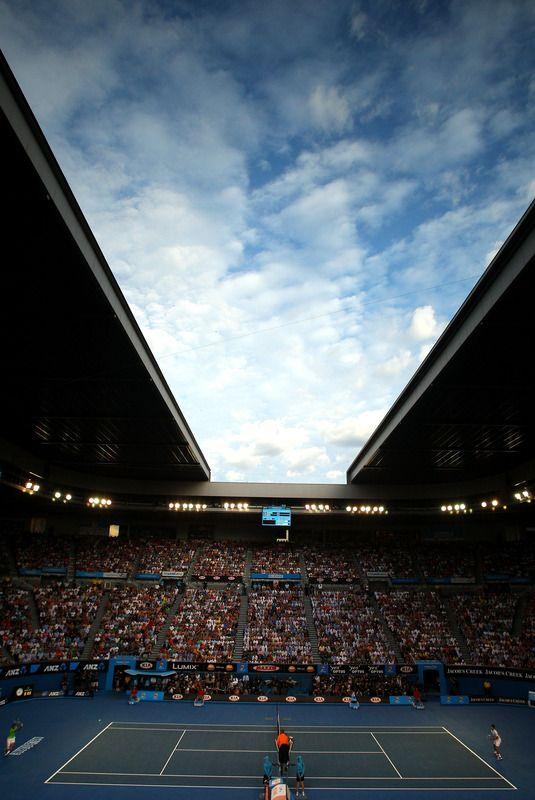 Novak Djokovic vs. Rafael Nadal under the retractable roof of Rod Laver Arena.  January 2012