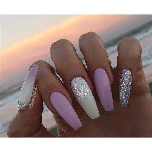 White And Lavender Coffin Nails by MargaritasNailz
