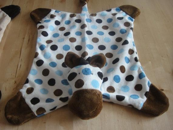 Minky Snuggle Blanket Toy Animal Security Blanket Buddy