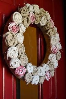 Homemade wreath with facbric scraps. Love this idea
