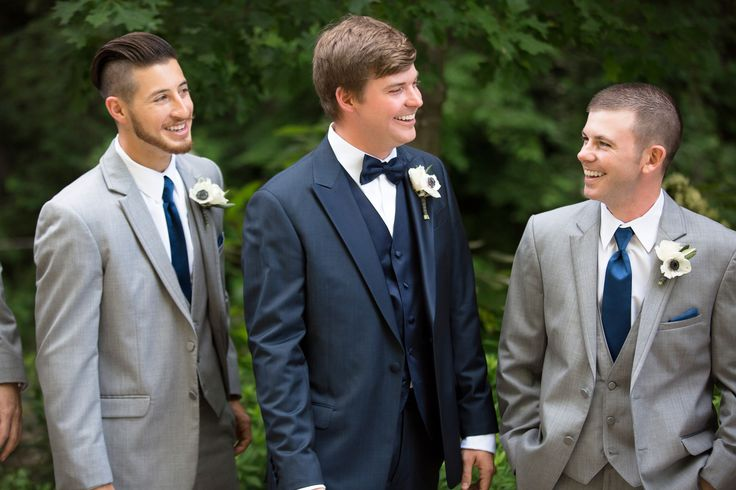 Three-Piece Gray and Blue Groomsmen Suits