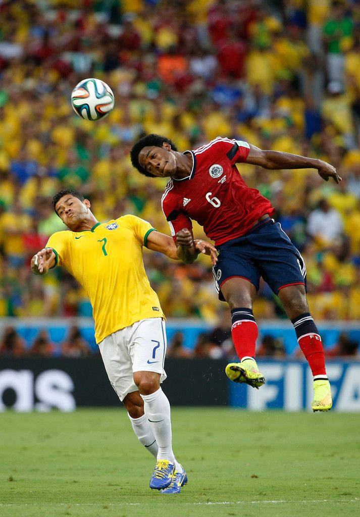 Hulk of Brazil and Carlos Sanchez of Colombia go up for a header during the 2014 FIFA World Cup Brazil Quarter Final match between Brazil and Colombia at Castelao on July 4, 2014 in Fortaleza, Brazil. (July 3, 2014 - Source: Gabriel Rossi/Getty Images South America)