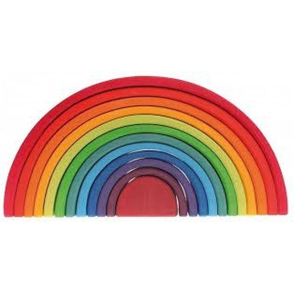 Met deze grote regenboog van Grimms kan een kind eindeloos creatief spelen. Je kunt er mee stapelen, schuiven, als wip of bedje gebruiken voor de poppen, tunnels, bruggen voor auto's ......Prachtige regenboogkleuren!Lengte 38cm en hoogte...