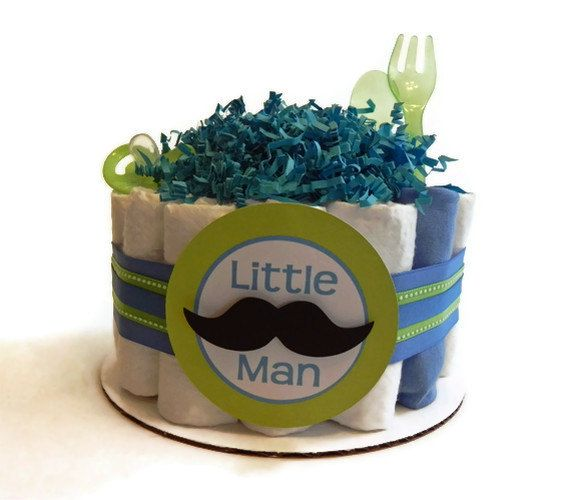 Little Man Mustache Diaper Cake - One Tier  Baby Shower gift or centerpiece mustache tie boy green blue
