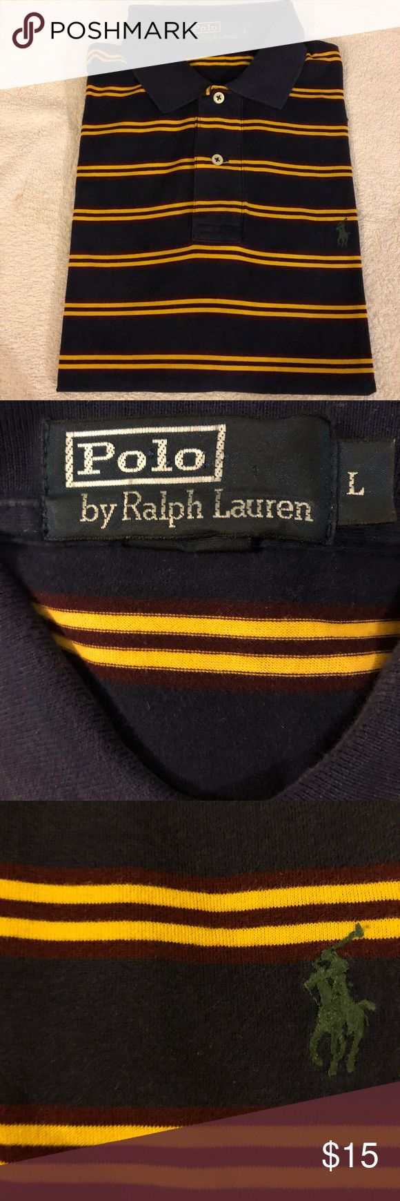 Polo Ralph Lauren Navy, Gold & Red Stripe Shirt L Polo Ralph Lauren Navy Blue, Dark Red and Gold Stripe Short Sleeve Polo Shirt size L! Great condition! Please make reasonable offers and bundle! Ask questions! :) Polo by Ralph Lauren Shirts Polos