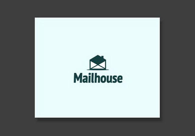 Открытый почтовый конверт интерпретирован как домик. И название подходящее — Почтовый Дом