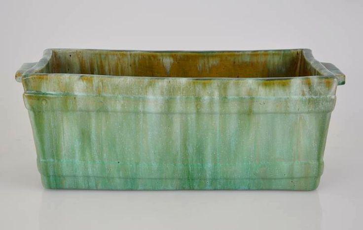 34cm x 12.5cm x 15cm John Campbell Green Drip Glaze Large Embossed Picket Trough Vase Signed   eBay marked D I L