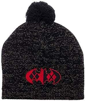 5063d595f71 Harley Quinn Batman Logo Metallic Lurex Pom Beanie Winter Hat