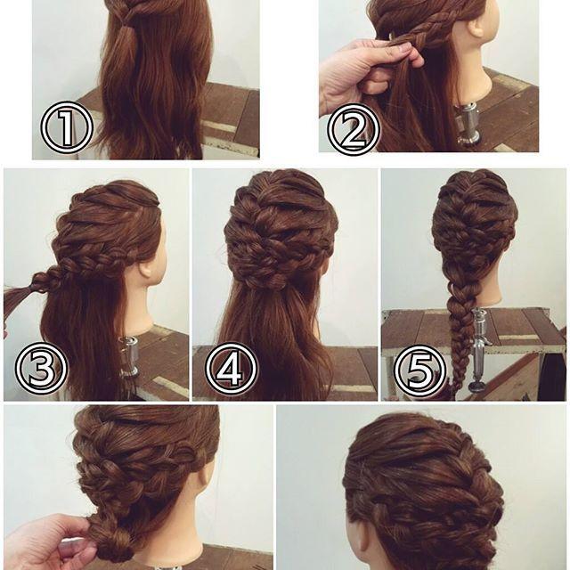 三つ編みアップアレンジ ① フロントからトップの部分を編み込みます。 ② サイドの髪を後ろに向けて三つ編みにします。 ③ 毛先まで三つ編みにします。。 ④ 毛先をしまい込むようにピンで留めます。反対側も同じように三つ編みにしてピンで留めます。 ⑤ 残りの髪をまとめて三つ編みにします。 ⑥ それを襟足にまとめ上げて… ⑦ ピンで両側からしっかり留めて出来上がりです! #横浜美容室#ヘアサロン#ヘアエステ#美容室#ヘアアレンジ#ヘアアレンジ解説#ヘアアレンジプロセス#簡単アレンジ#まとめ髪#ヘアスタイル#三つ編み#編み込み#アップアレンジ#横浜#石川町#元町#nest#スタッフ募集#スタッフ募集中