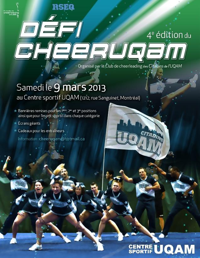 L'Équipe de cheerleading de l'UQAM organise le Défi CheerUQAM 2012    Centre sportif de l'UQAM - 9 mars 2013