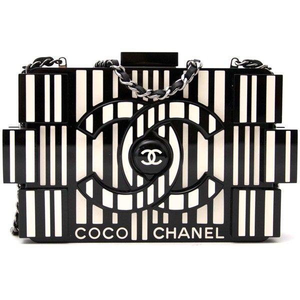 Labellov Chanel lego clutch bag plexiglass black and white ● Buy and... (€500) ❤ liked on Polyvore featuring bags, handbags, clutches, chanel purse, chanel pochette, black white handbag, black and white purse and chanel handbags
