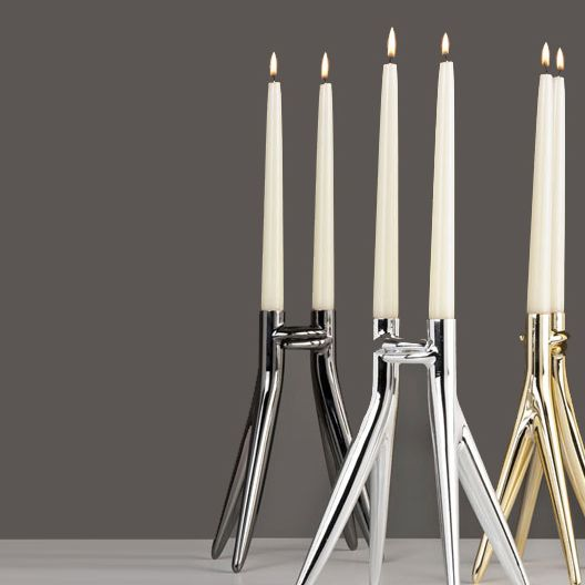 Abbracciaio Candle holder, Grey - Philippe Starck - Kartell - RoyalDesign.com #philippestarck #kartell #royaldesign #candleholder #design