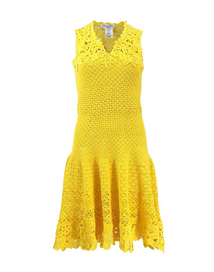 OSCAR DE LA RENTA Drop Waist Crochet Dress