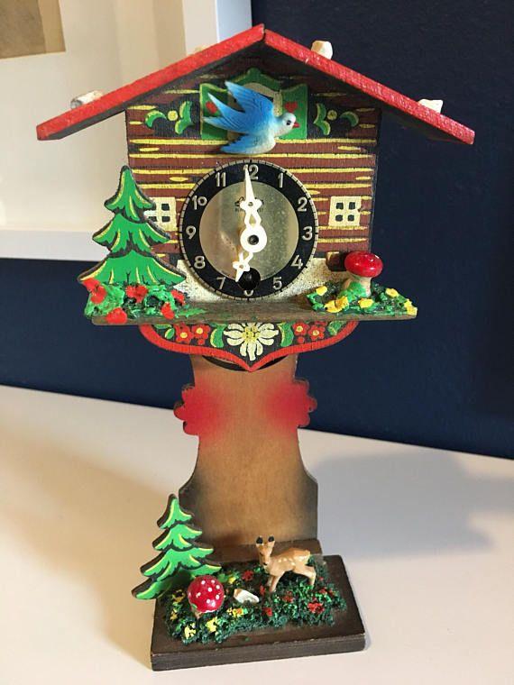 1950 S German Linden Blackforest Mini Cuckoo Clock W Deer Novelty Clocks Cool Clocks Cuckoo Clock