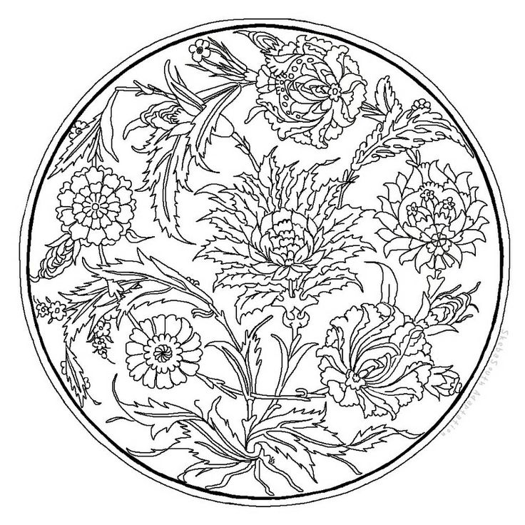 And one for you to color. Adapted from Dover's Traditional Turkish Designs.