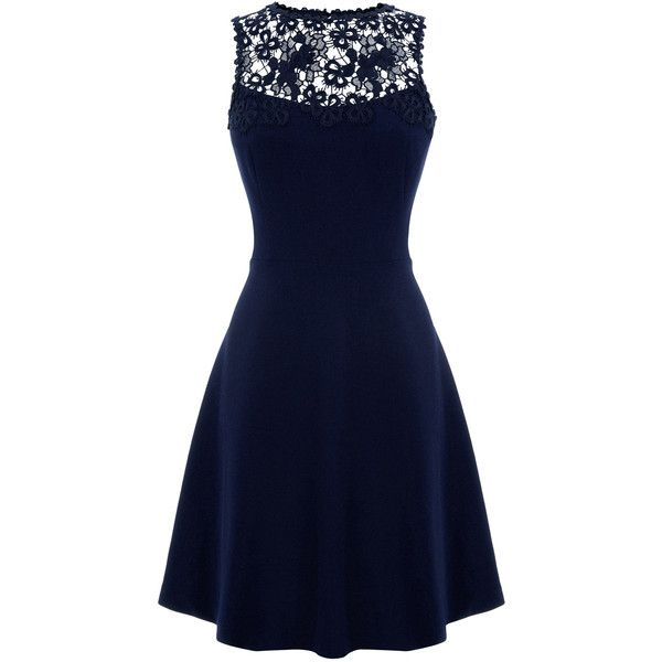 Warehouse Lace Panel Skater Dress ($50) ❤ liked on Polyvore featuring dresses, vestidos, blue, a line dress, sleeveless lace dress, lace inset dress, lace insert dress and zipper dress