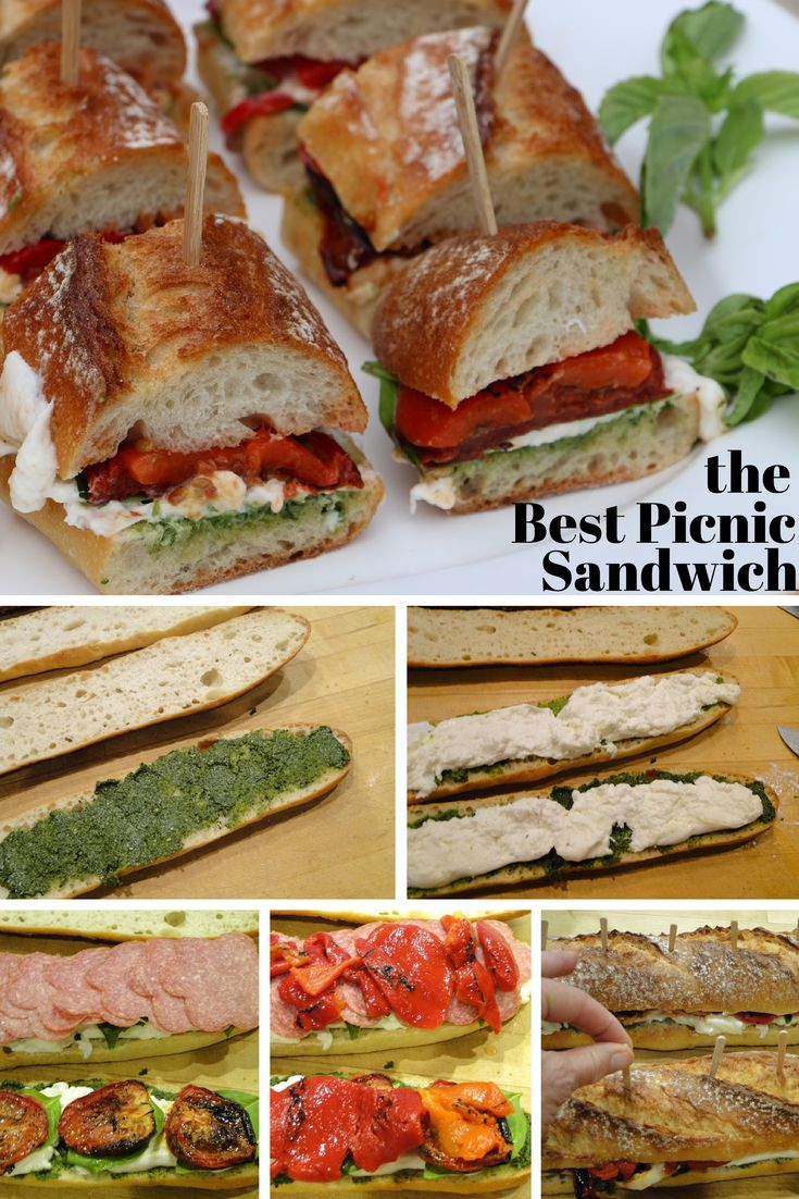 This quick sandwich made with roasted tomatoes, pesto and burrata is the perfect picnic meal, but also can be used as an appetizer or for a lunch or dinner at home. Make it in advance so the flavors can meld.
