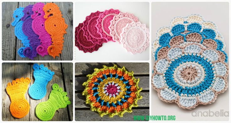 A Collection of easy crochet coasters, flower coaster, animal coaster, coaster applique / motif design