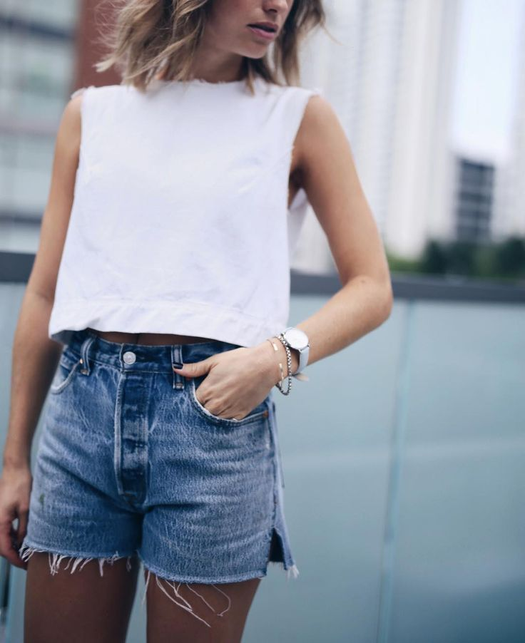summer uniform | white tank + jean cut-offs