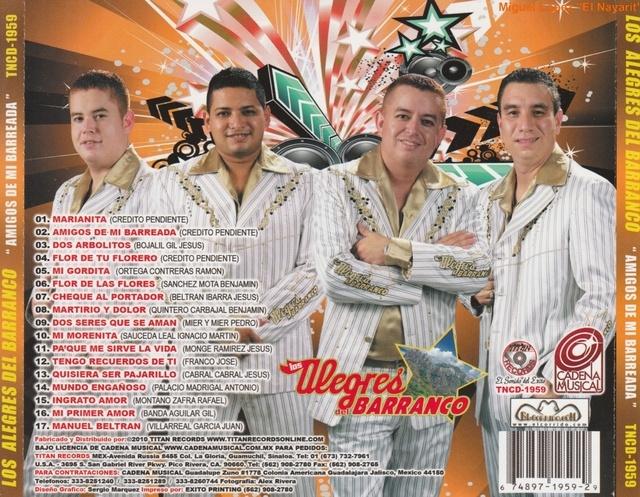 Los Alegres Del Barranco - Amigos De Mi Barreada (2010) : Musica Con Tololoche - Sinaloa-Mp3
