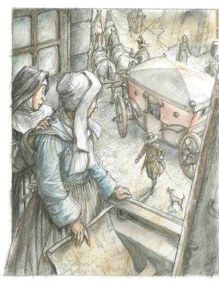 Mère Louise de Chomedey de Sainte-Marie présente Marguerite Bourgeoys à Paul de Chomedey de Maisonneuve, en visite au couvent de la Congrégation Notre-Dame   Croire et vouloir