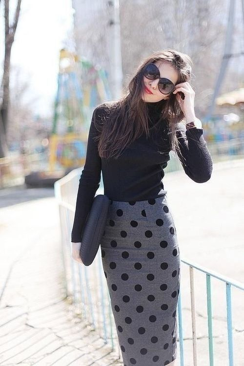 Shop this look for $46:  http://lookastic.com/women/looks/black-turtleneck-and-grey-pencil-skirt-and-black-leather-clutch/1161  — Black Turtleneck  — Grey Polka Dot Pencil Skirt  — Black Leather Clutch