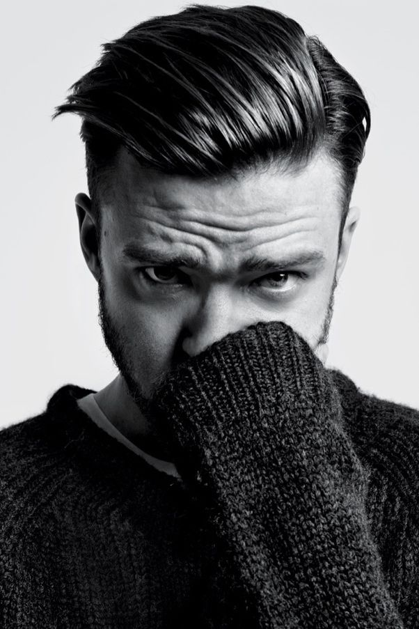 Justin Timberlake's slicked back, side part is such a classic look