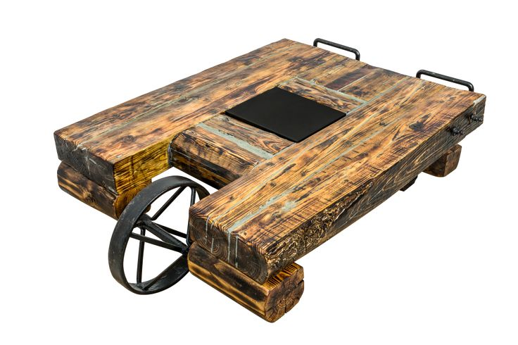 Wheelbarrow table - industrial reclaimed wood beams table Masa cafea din grinzi vechi de lemn, cu roata vintage de roaba
