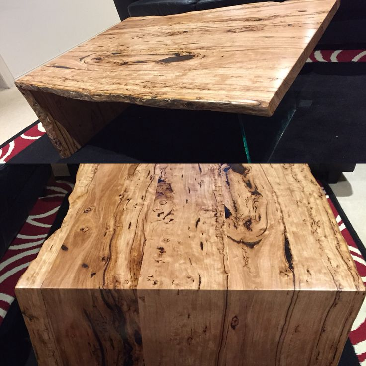 Coffee table made from stringy bark Birdseye hardwood timber & glass leg