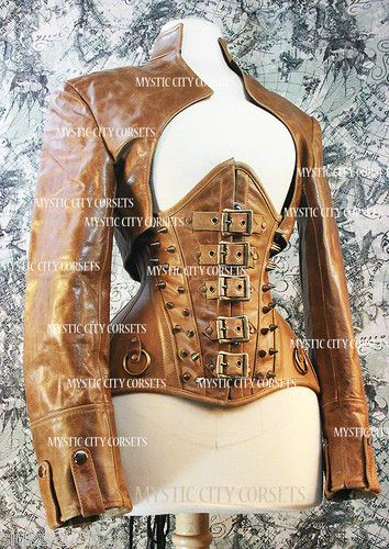 NEW BROWN LEATHER UNDERBUST CORSET STEAMPUNK MYSTIC CITY CORSETS SMLXL | eBay