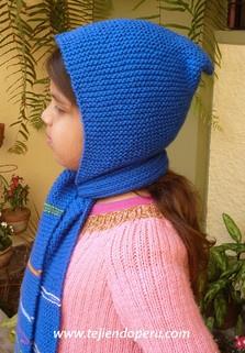 Tutorial cómo tejer una bufanda con capucha para niños en dos agujas o palitos!