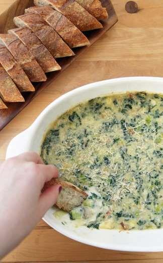 Three-Cheese Spinach- Artichoke Dip