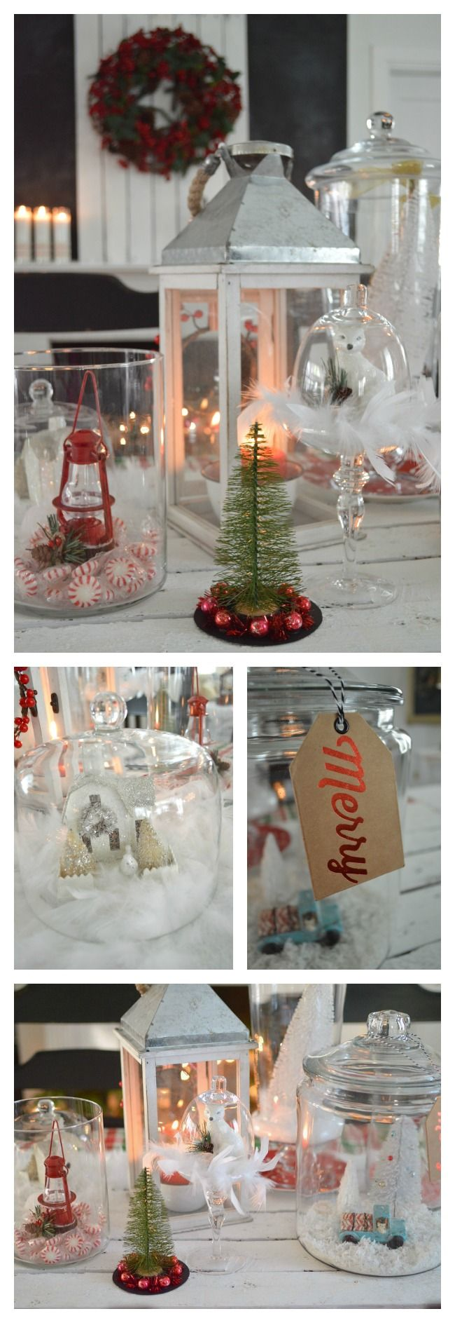 Eclectic Christmas village in glass - with peppermints, feathers, candy canes and treasures! A simple way to decorate that gives a big impact! Use everyday items and fill them with Christmas goodies.