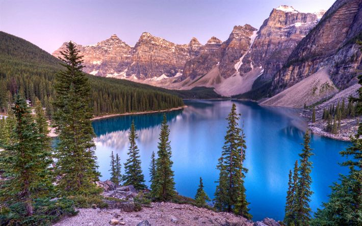 Download wallpapers Banff, sunset, Moraine lake, 4k, Banff National Park, mountains, Canadian Rockies, Alberta, Canada