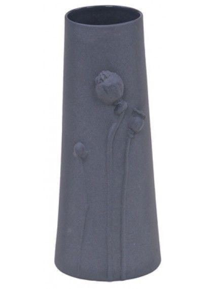 Stor Poppy vase med relief af blomster -Grå