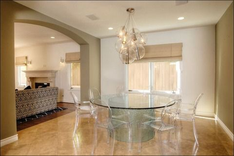 "Like the glass-topped table & ghost chairs. ""Kaley Cucuo's House for Sale""--Thanks, TMZ!"