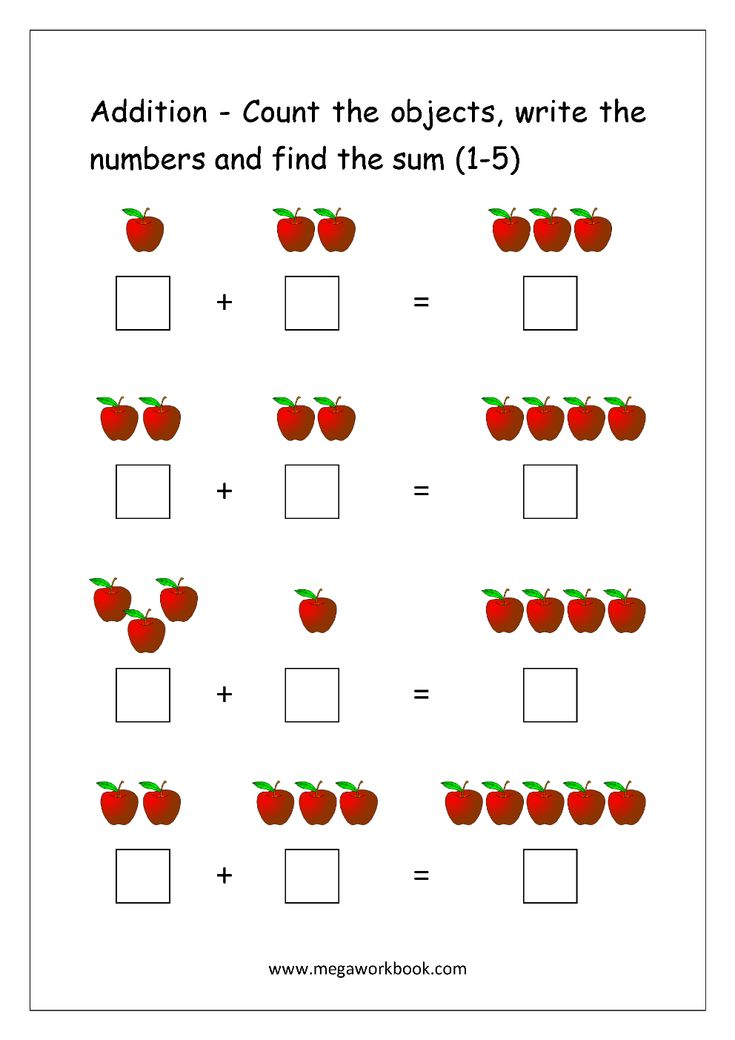 Addition Using Objects (http://www.megaworkbook.com/maths/addition)