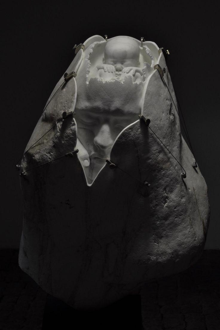 JAGO | Artist - sculpture 2015 - sasso di fiume, marmo statuario,  self-portrait, fetus.