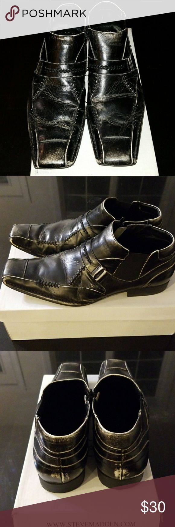 Steve Madden Black Boots Super comfortable distressed boots. One of my favorite pair of boots just don't wear anymore. You'll definitely enjoy these as well! Steve Madden Shoes Boots